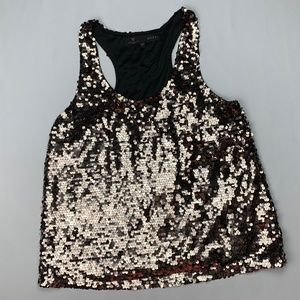 Guess Los Angeles Metallic Gold Sequin racerback